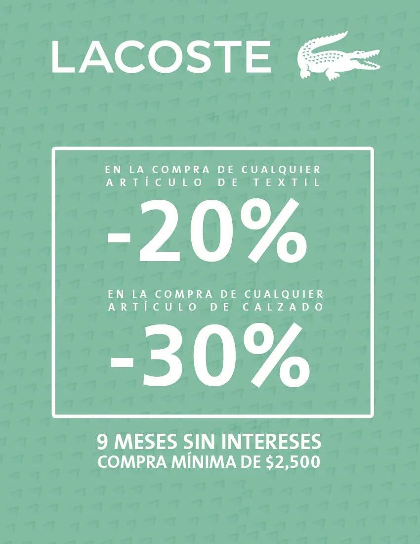 Lacoste: 20% de descuento en textil y 30% en calzado