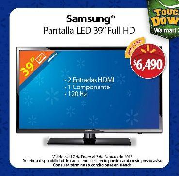 "Walmart: pantalla LED Samsung de 39"" a $6,490"