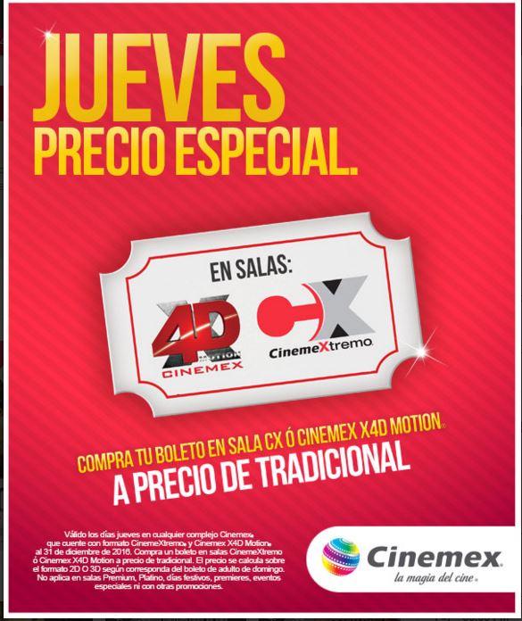 Cinemex: Jueves boleto X4D a precio de normal 2d y cinemextremo a precio de 3d