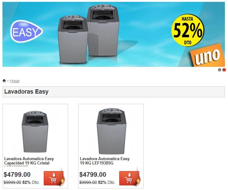 MeQuedoUno.com: 52% de descuento en 2 modelos de lavadoras EASY ($4,799.00)