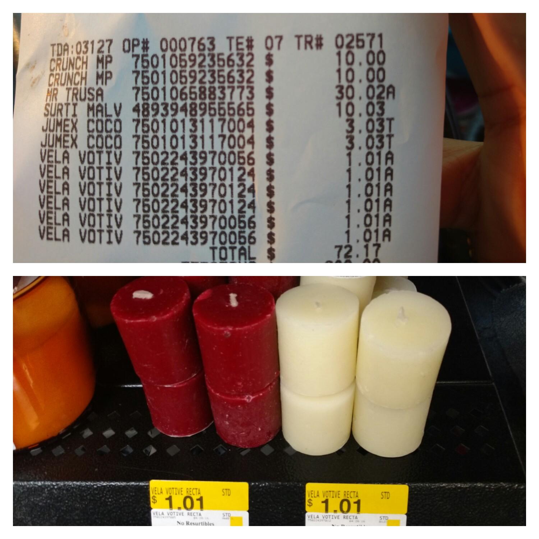 Walmart Tuxtla: velitas aromáticas $1.01 y más...