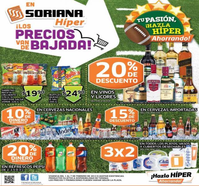Folleto Soriana: 20% de descuento en vinos y licores, 3x2 en toallas Always, desechables y +