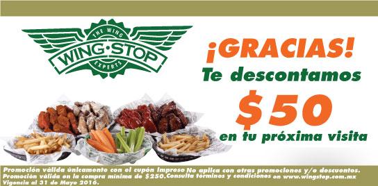 WingStop: Descuento de $50 pesos presentando el cupón