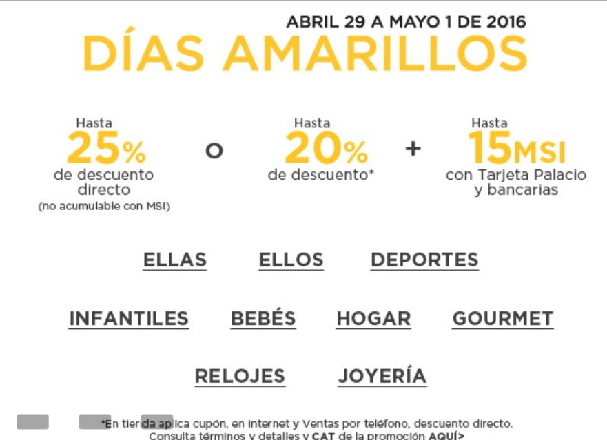 Palacio de Hierro: Días Amarillos, hasta 25% de descuento del 29 de abril al 1 de mayo + MSI