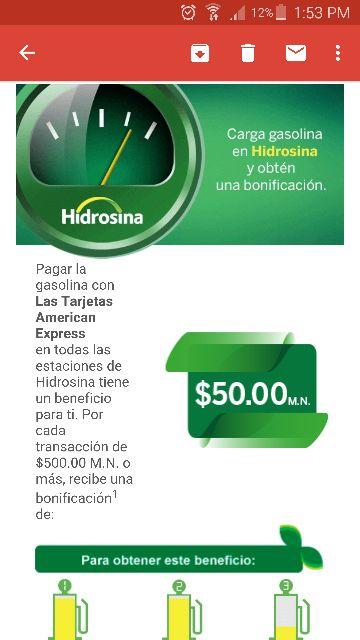 Hidrosina: bonificación de $50 al cargar $500 pagando con American Express