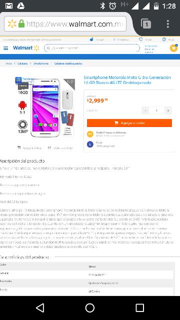 Walmart en línea: Moto G 3ra Generación blanco a $2,999
