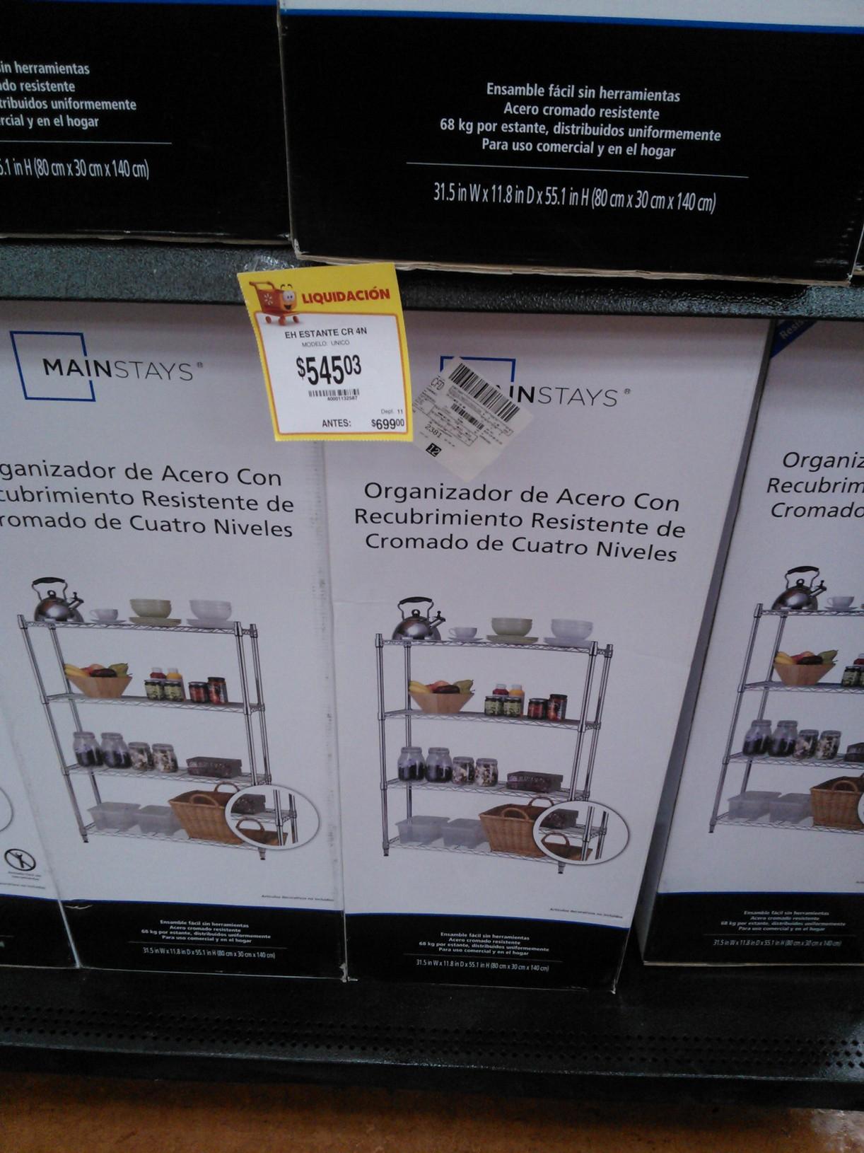 Walmart: primera liquidación de estantes cromados a $545.03
