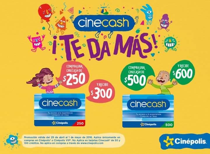 Cinépolis: 20% más de crédito comprando tarjeta de regalo Cinecash