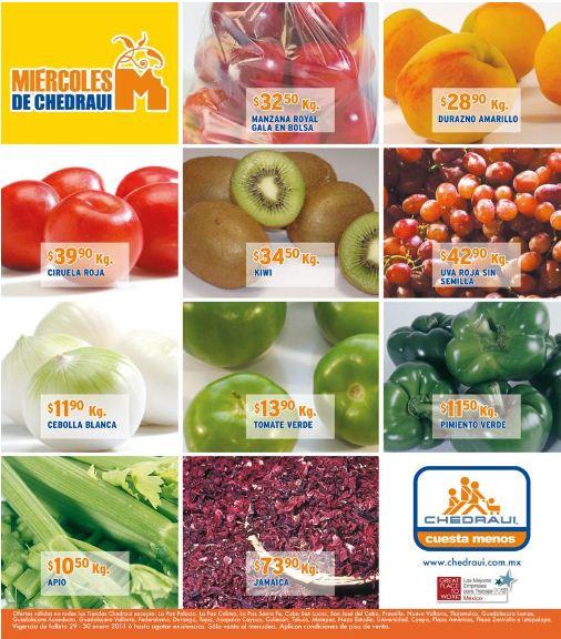 Miércoles de frutas y verduras Chedraui enero 30: todos los manojos a 90 centavos y +