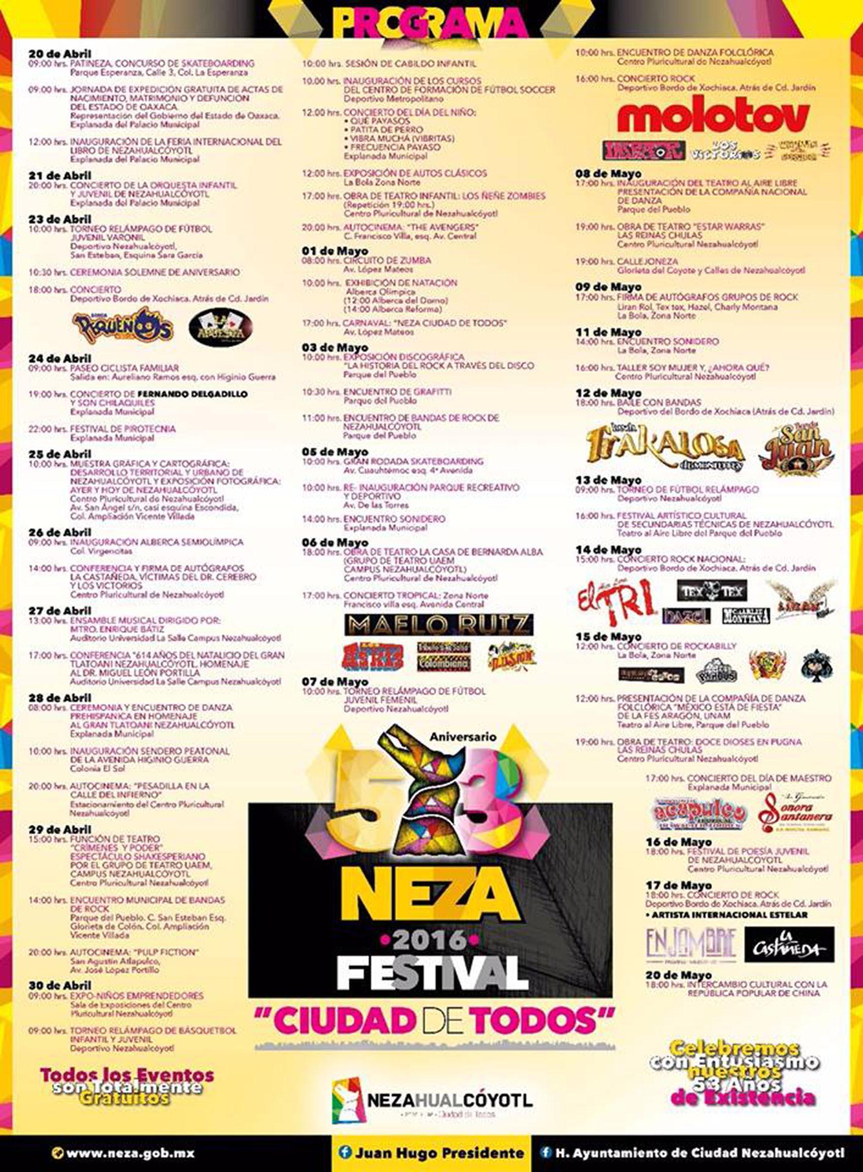 Festival 53 Aniversario Neza: conciertos gratuitos de Enrique Bunbury, Molotov, El Tri y más