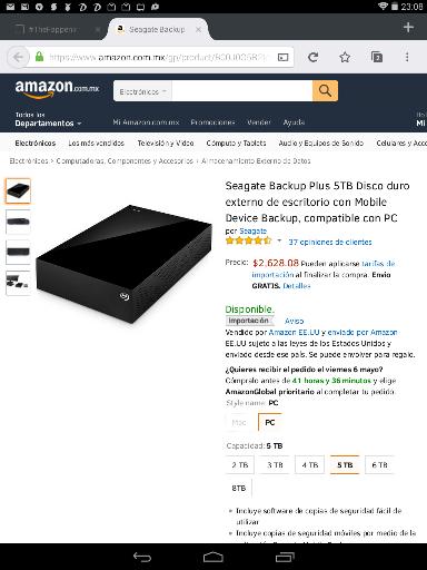 Amazon: Disco duro externo de 5TB Seagate a $2,628