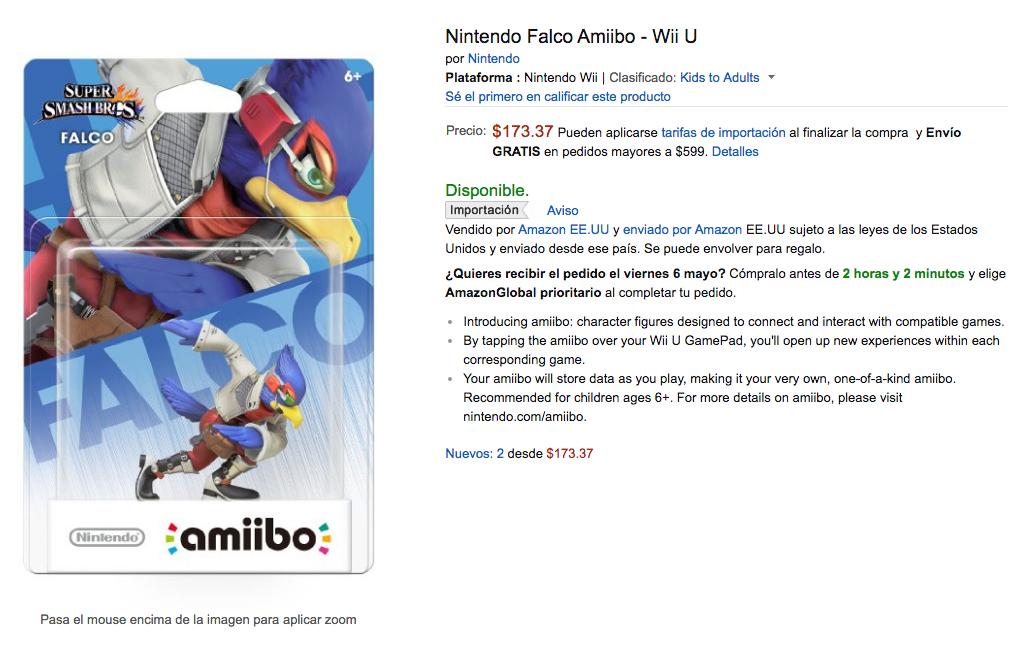 Amazon: Amiibo Falco (importación) a $173.37  y Xenoblade (Importación) a $867.52