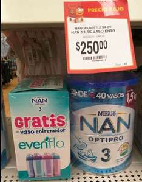 Walmart: leche bebé NAN 3 1.5Kg con vaso entrenador gratis
