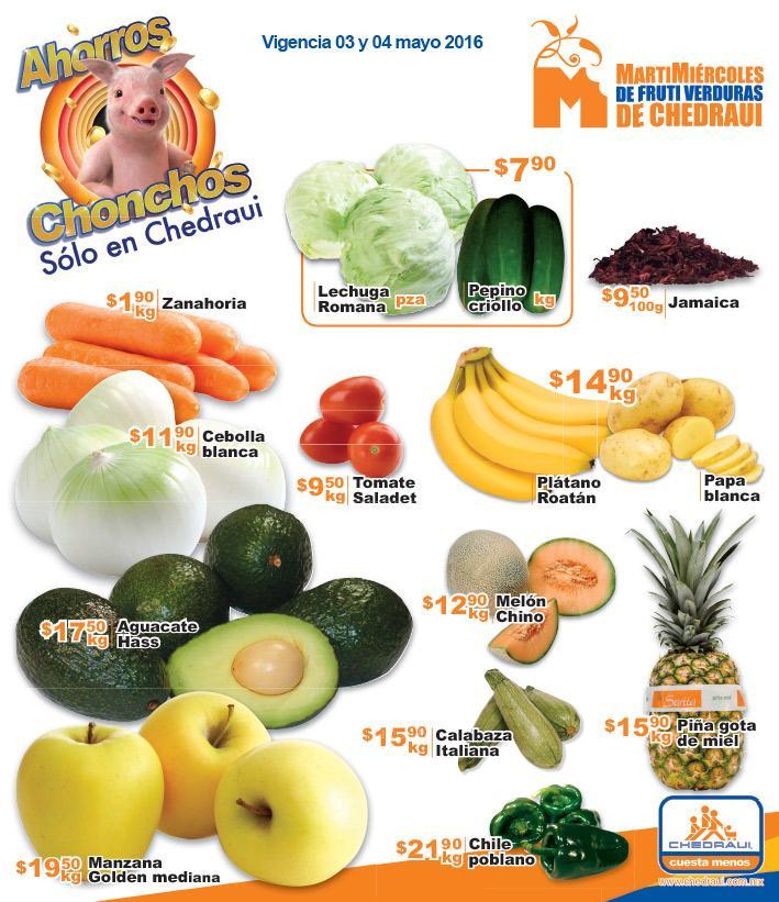 Ofertas de Martimiércoles Chedraui 3 y 4 de mayo (ej: zanahoria $1.90/Kg)