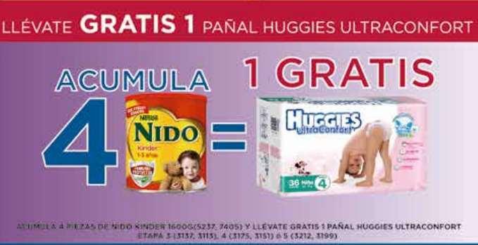 Farmacias del Ahorro: pañales Huggies gratis acumulando 4 compras de leche Nido y otras ofertas