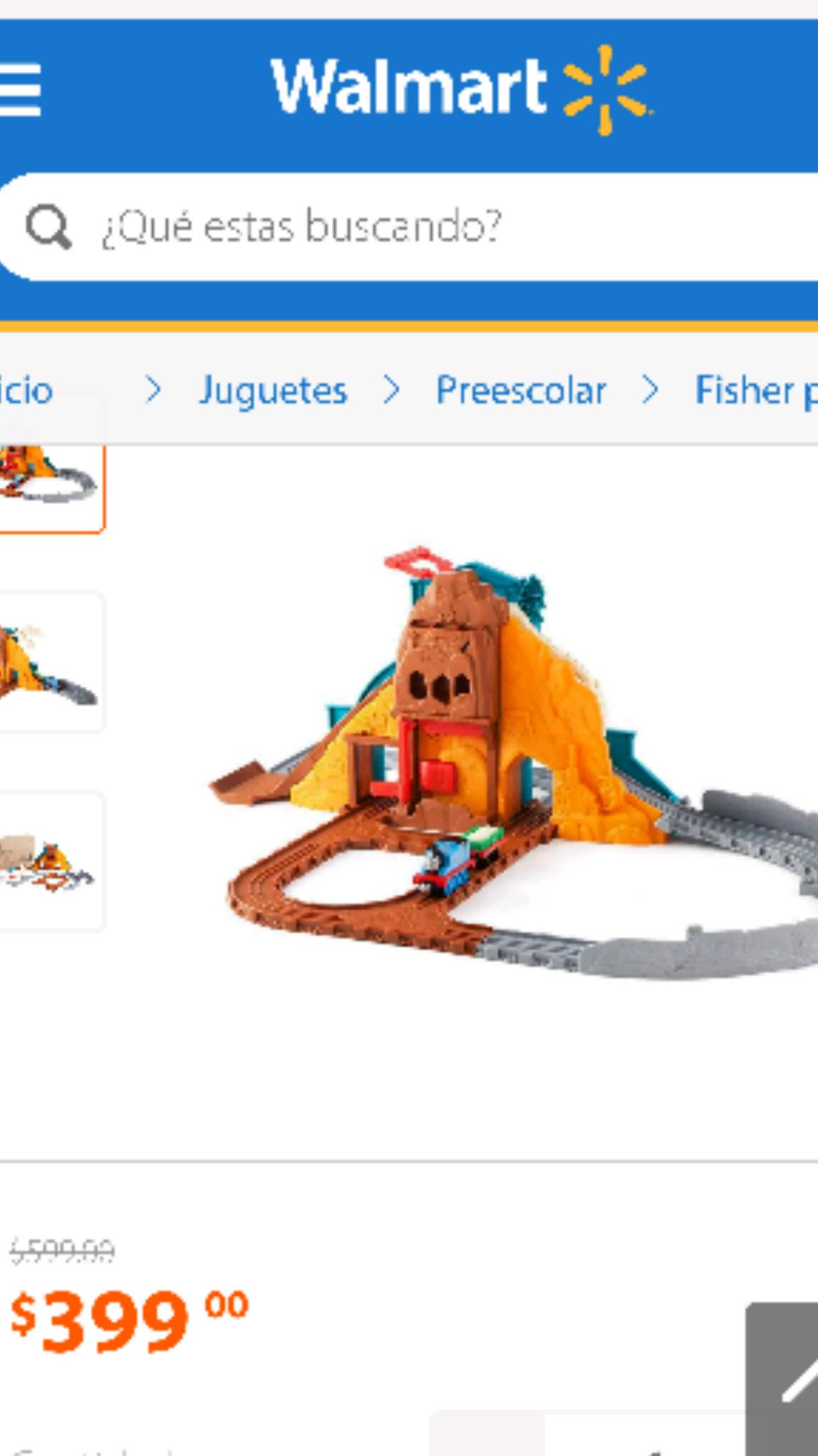 Walmart en línea: Thomas Take & Play Pista Dinosaurio Feroz a $399