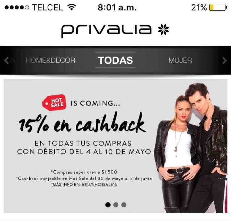 Privalia: 15 % en cashback del 4 al 10 de mayo en compras mayores a $1,500