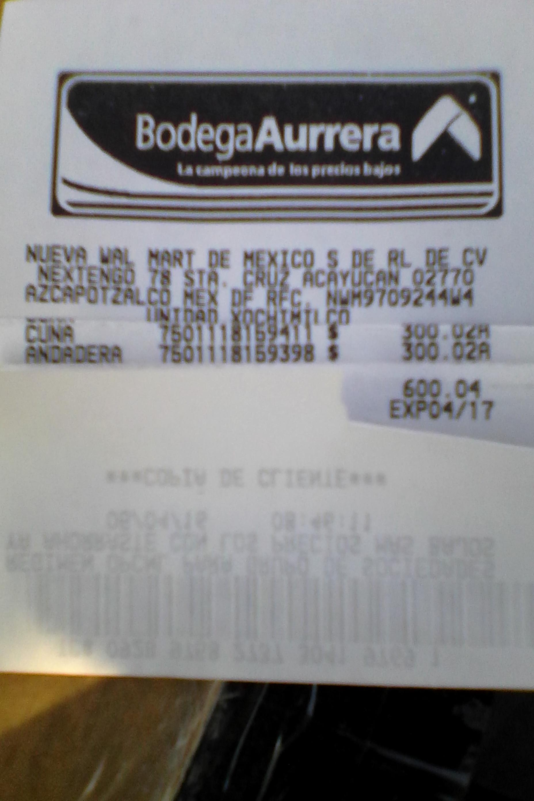 Bodega Aurrerá Xochimilco: andadera y cuna Disney a $300.02 c/u