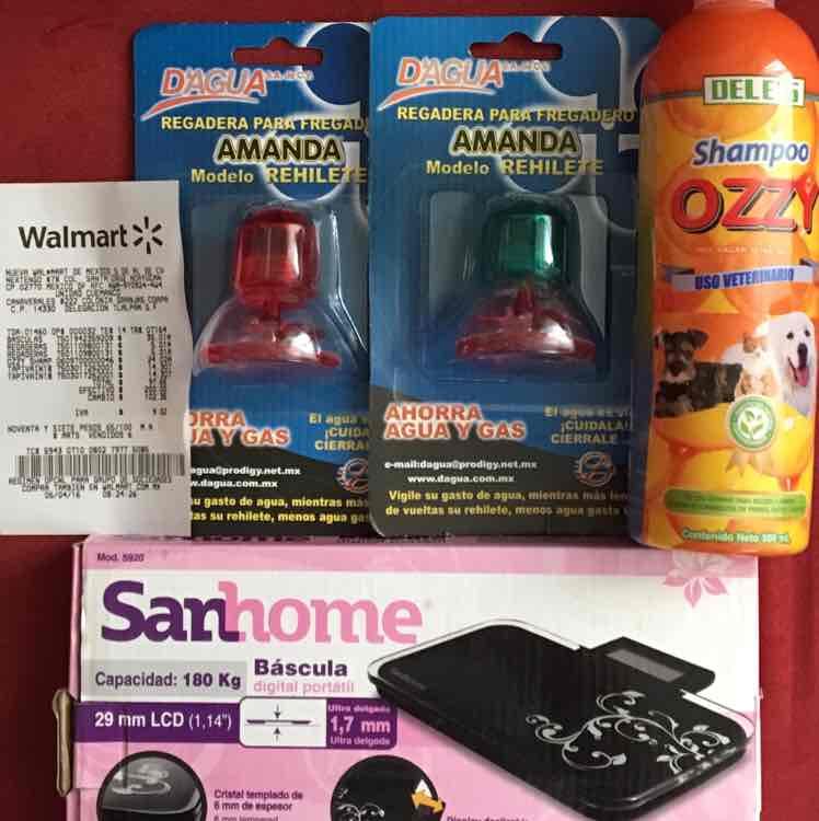 Walmart Cuemanco CDMX: regadera para fregadero, shampoo para mascotas a $24.02