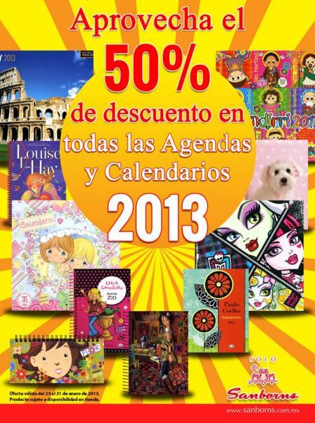 Sanborns: 50% de descuento en agendas y calendarios 2013