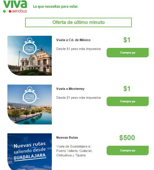 VivaAerobus : algunas rutas 1 peso más impuestos