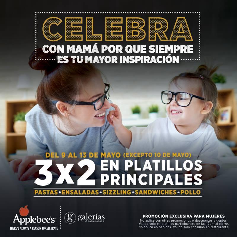 Promoción día de las madres Applebee's: 3x2 en platillos principales del 9 al 13 de mayo