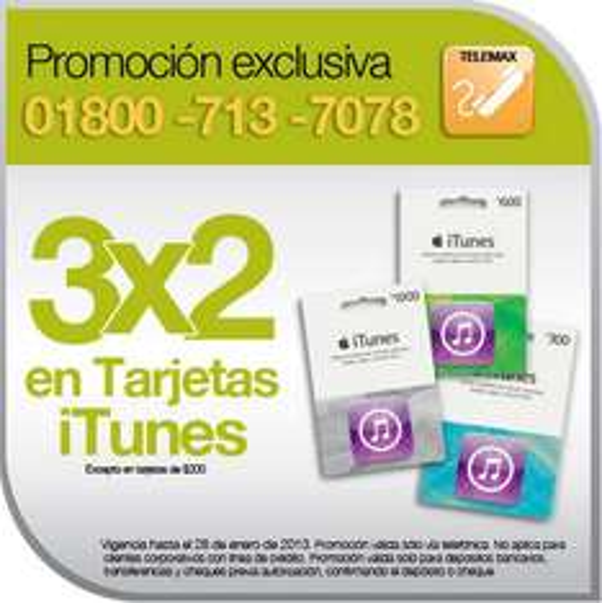 OfficeMax: 3x2 en tarjetas iTunes (por teléfono)