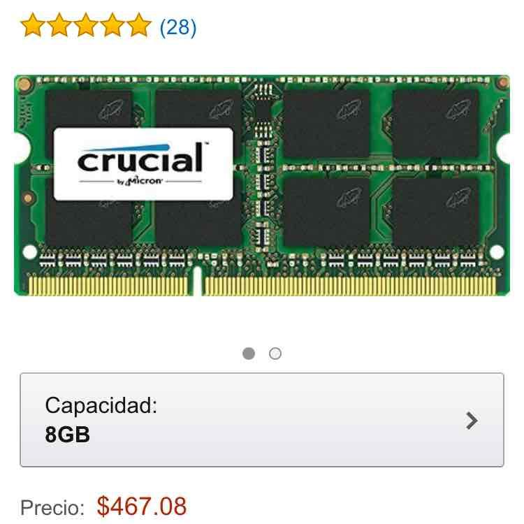 Amazon: Crucial CT51264BF160B - Modulo de Memoria Computadora Portátil DDR3 1600 MHz, 8Gb a $467