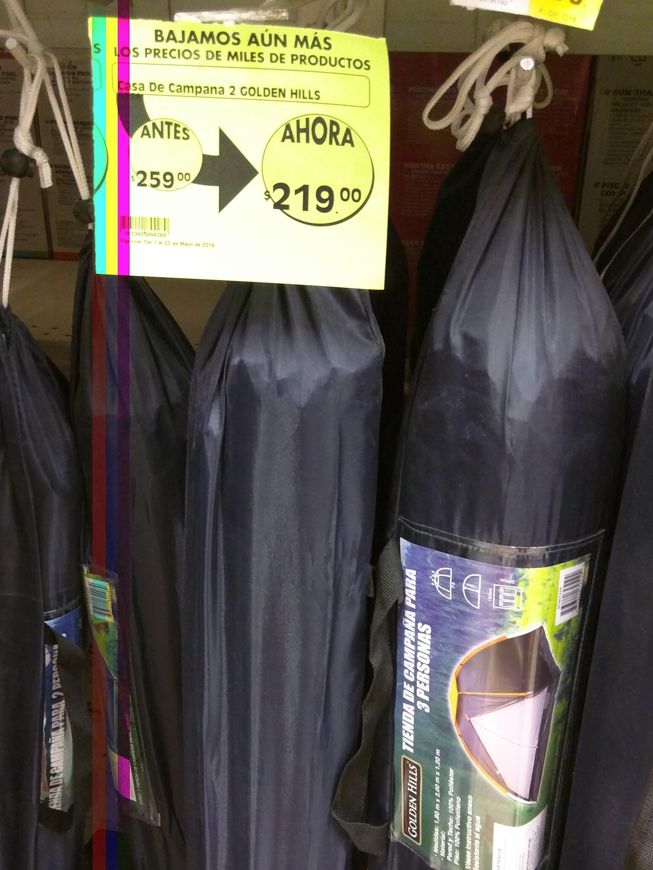 Comercial Mexicana Pilares: tienda de campaña para 2 personas a $219