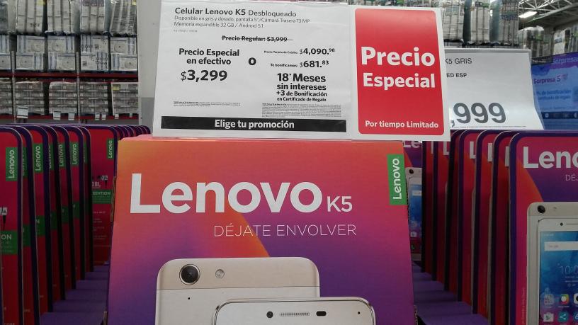 Sam's Club: Lenovo K5 a $3,299 pagando en efectivo, 6x5 en Celulares Motorola y Lenovo