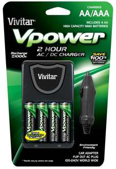 Amazon: Vivitar Compact Car Charger for 4 Batteries (VIV-BC-392)