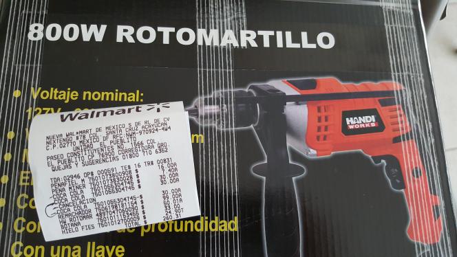 Walmart: rotomartillo de 800 watts Handi Works a $50.01