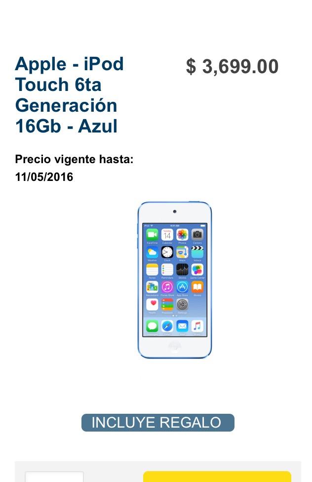 Best Buy en línea: iPod touch 6ta gen + chromecast audio+ cupón
