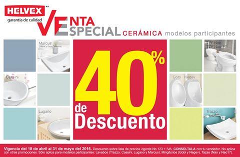 Helvex: venta especial cerámica 40% de descuento en modelos participantes