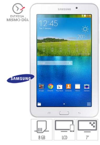 """Elektra en línea:  Samsung Tablet 7"""" Quad Core 8 GB DD 1 GB RAM - Blanca a $1,589 o $1,339 con cupón"""