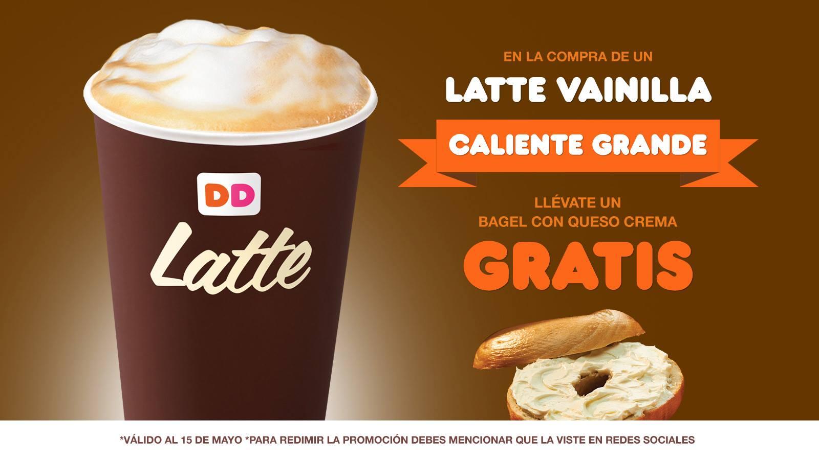 Dunkin' Donuts: bagel gratis comprando latte vainilla