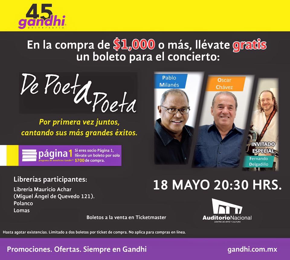 Gandhi: boleto para concierto de Milanés, Delagadillo y Óscar Chávez con compra mínima