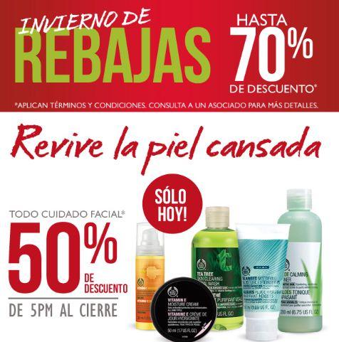 The Body Shop: 50% de descuento en todo el cuidado facial