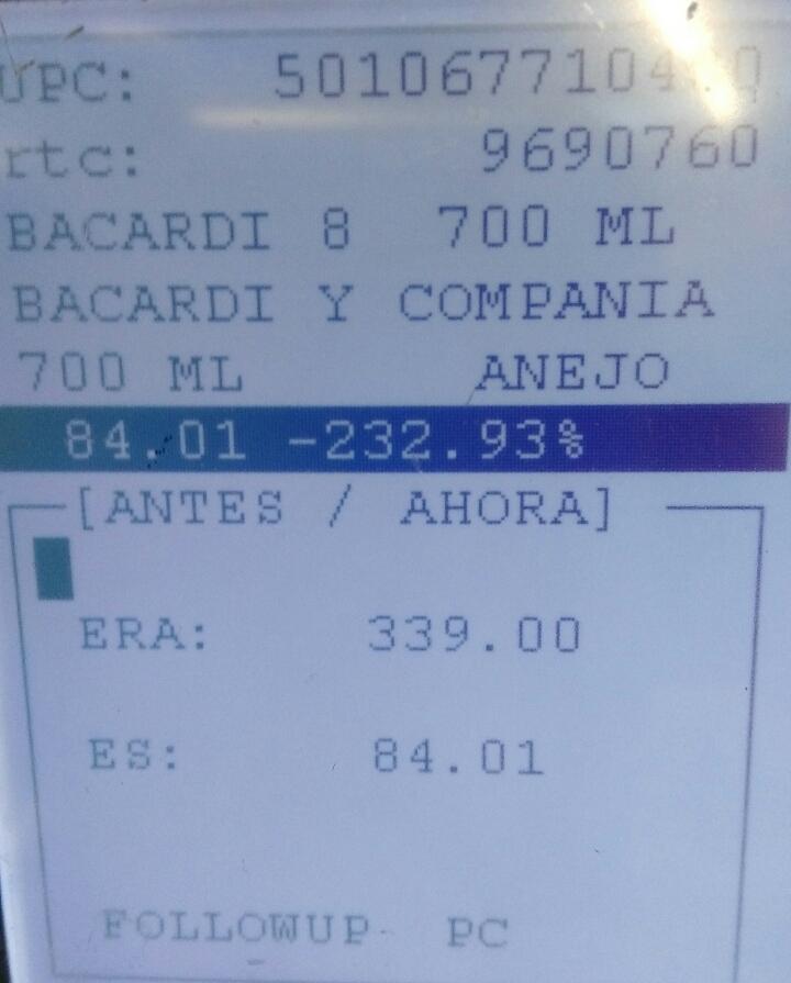 Walmart 57 San Luis Potosi: Bacardi 8 años a $84.01