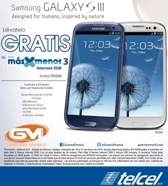 Telcel: Samsung Galaxy SIII gratis en plan de $709 y Galaxy Note II en plan de $899 (R9)