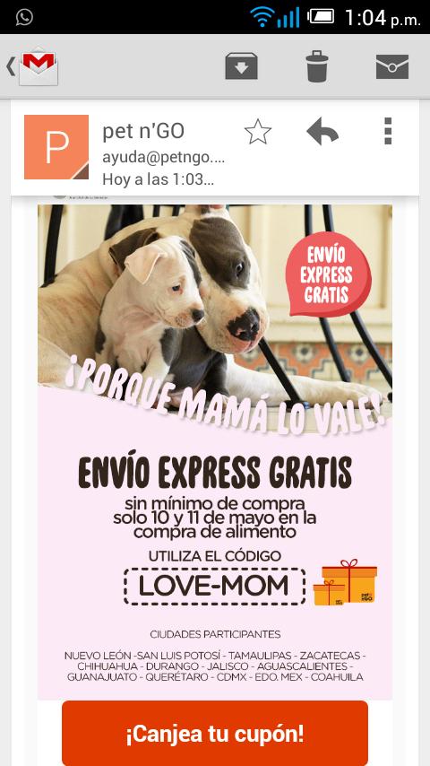 Pet n´Go Envio express gratis en la compra de alimento
