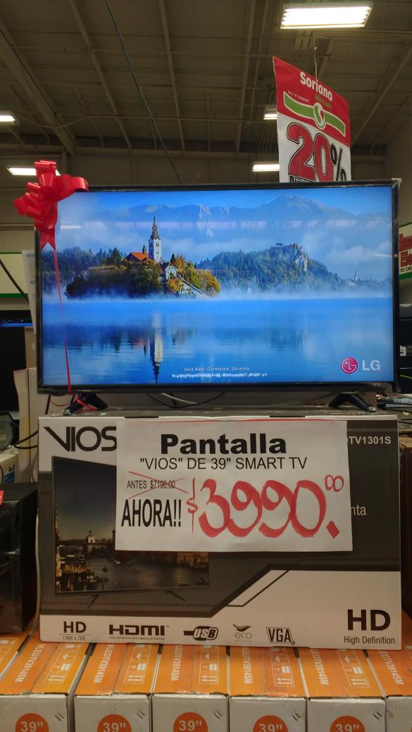 """Soriana: Pantalla Vios de 39"""" Smart TV a $3,990"""