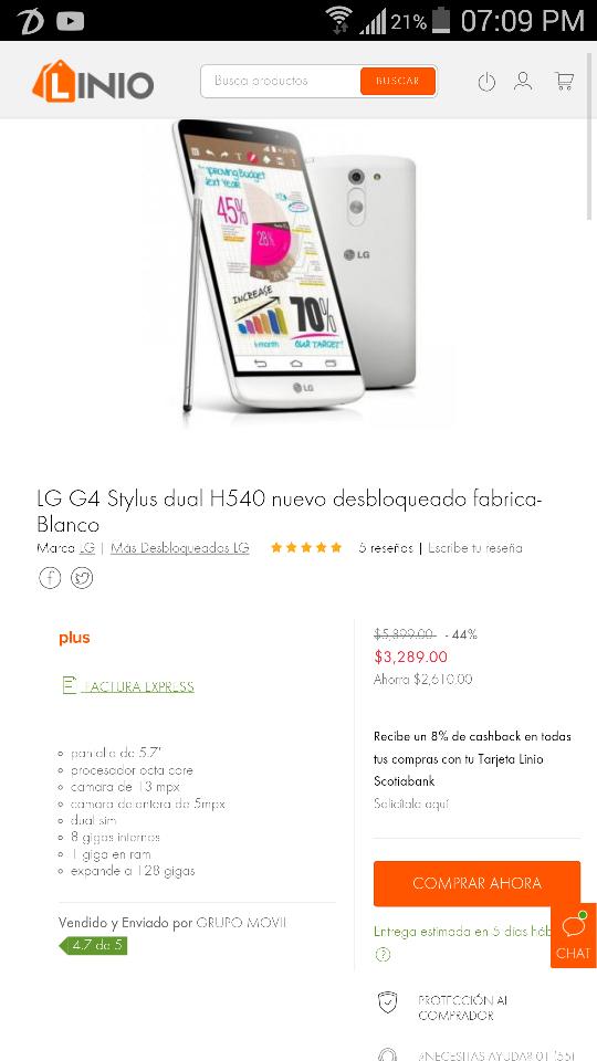 Linio: LG G4 Stylus dual sim h504 blanco a $3,289