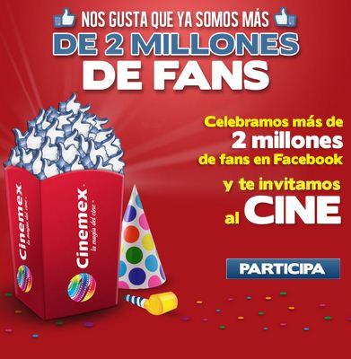 Cinemex: boleto gratis o cupón 2x1 contestando trivia en Facebook