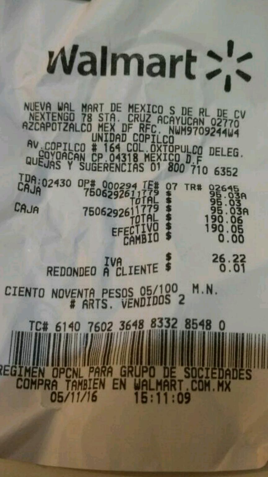 Walmart Copilco: cajas de plástico a $95.03