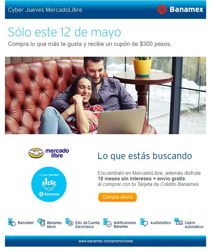 Mercado Libre: Recibe un cupón de $300 para tu siguiente compra pagando con Banamex en productos seleccionados