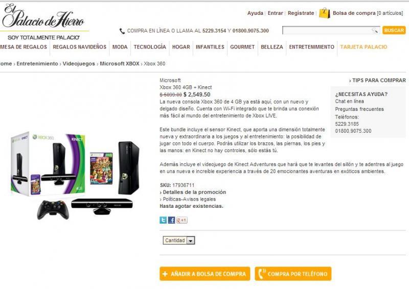 Palacio de Hierro: Xbox 360 4GB con Kinect a $2,550