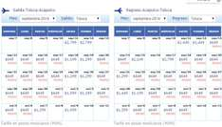 Ofertas flash Interjet: ejemplo Toluca a Acapulco redondo $1,298