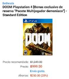Amazon México: DOOM para PS4 a $999