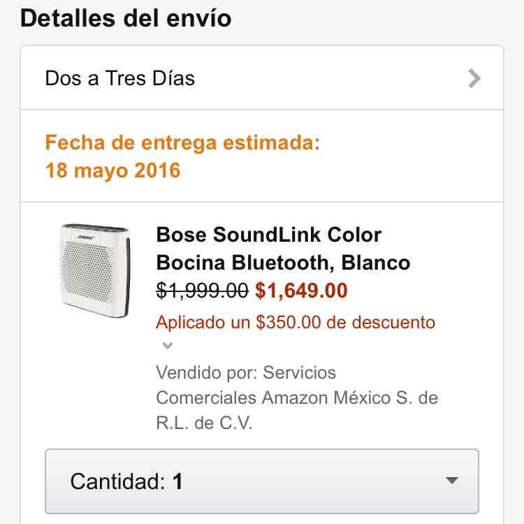 Amazon: Bocina BOSE Soundlink Color Blanca a $1,999 - $1,649 con cupón -